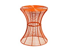 Round Metal Accent Table - Orange