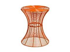Round Metal Accent Table - Orange