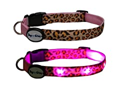 Dog-e-Glow Leopard Print LED Lighted Collar - Medium