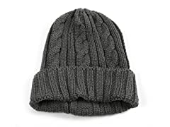 MUK LUKS® 33804 Men's Knit Cable Cuff Hat, Grey