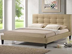 Quincy Dark Beige Linen Platform Bed