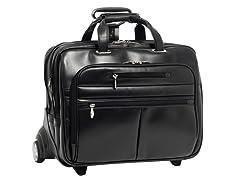 "OHare Leather Fly-Thru™ 17"" Wheeled Laptop Case"