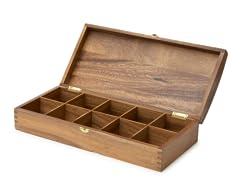 Acacia Wood 10-Slot Tea Bag Holder
