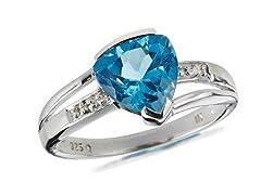 SS, Blue Topaz & Diamond Ring