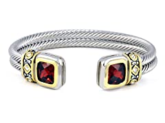 Regal Jewelry 18K Gold-Plated Double Square Bangle In Ruby Red Color