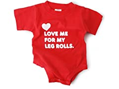 """Love My Leg Rolls"" in Red (0-6 mos)"