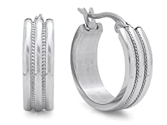 Stainless Steel Hoop Earrings w/ Texture
