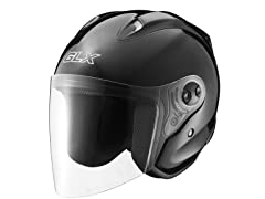 Open Face Motorcycle Helmet - Black