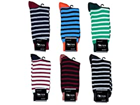 Focus Men's 12pk Assorted Striped Dress Socks