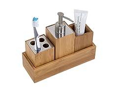 Honey-Can-Do Bamboo 4-Piece Dispenser Set
