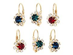 Green Sapphire & Ruby Crystal Flower Set of 3 Huggie Earrings