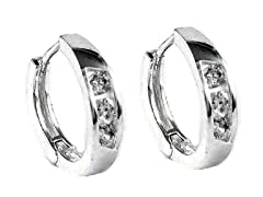 Sterling Silver Simulated Diamond Huggies