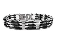 Fancy SS Black and White Link Bracelet