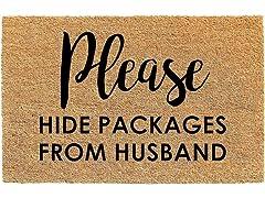 Printed Coir Mat, Hide From Husband