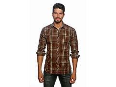 Jared Lang Dress Shirt, Brown Gingham