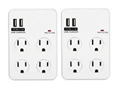 Bayoutech 4 Outlet Wall Plug w/2 USB Ports