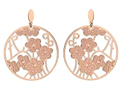 18kt Rose Plated Tree of Flower Earrings