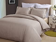 Hotel Peninsula Duvet Set-Taupe-2 Sizes