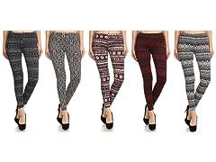 5PK Women's Holiday Printed Leggings