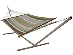 Castaway  Hammock - Aqua and Green