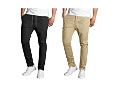 Men's Hybrid Flex-Stretch Elastic Chino Pants 2PK