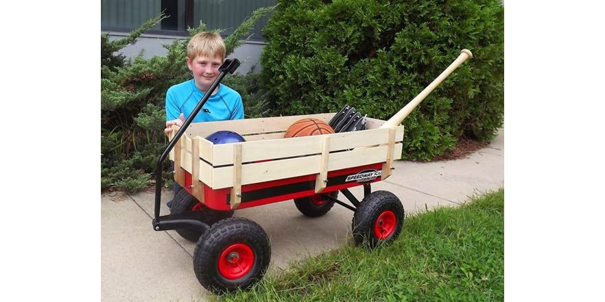 Speedway Racer Red Wagon With Wood Sides