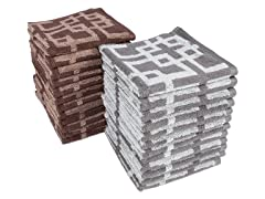 Chippendale 12-Pack Wash Cloths- 2 Colors