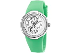 Women's White Dial / Green Rubber Strap Watch
