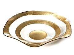 "Wave Bowl 14"" Gold Rim"