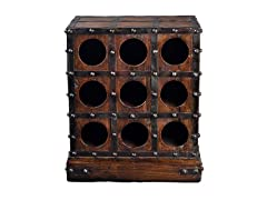 Rustic 9-Bottle Wine Holder