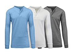 GBH Men's Waffle-Knit Henley Thermals 3-Pk