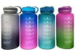 4-Pack Motivational Water Bottles