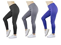 Women's Ponte Stretch Leggings 3-Pack