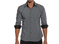 Jared Lang Dress Shirt, Black/Blue Square