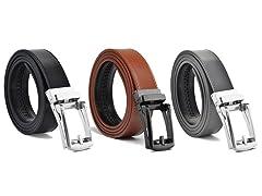 Genuine Leather Ratchet Belt 1, 2, or 3 Pack