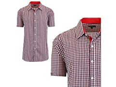 GBH Men's Short Sleeve Plaid Dress Shirt