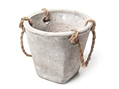 Small Cement Pot with Rope Handle