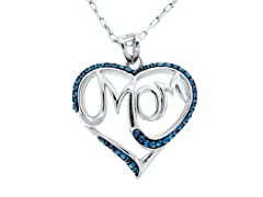 Fine Silver Plated MOM Heart Pendant w/ Chain