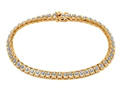 18K Gold-Plated SS Dotted Diamond Accent Tennis Bracelet