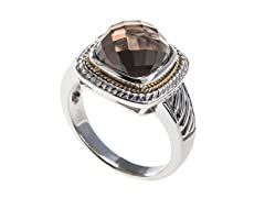 18kt Gold Square Smokey Quartz Ring