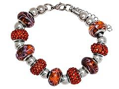 SS Murano Bracelet w/ Orange-Mix Charm
