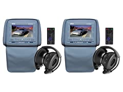 "Adj Headrest w/ 7"" LCD, DVD & Wireless Headphones- Pair"