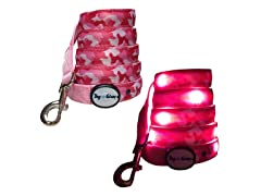 Dog-e-Glow Pink Camo LED Lighted Leash 6'