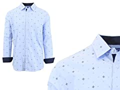 Men Long Sleeve Pattern Dress Shirt