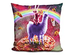 Laser Eyes Outer Space Cat Riding On Llama Unicorn Pillow