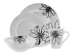 Florentine 16-Piece Dinnerware Set White/Black