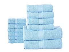 12-Piece 100% Combed Cotton 600GSM Towel Set