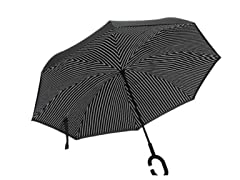Reverse Opening Umbrella, Black Pin Stripe