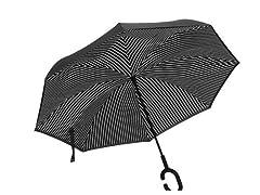Reverse Opening Umbrella, Black Pin Stripe