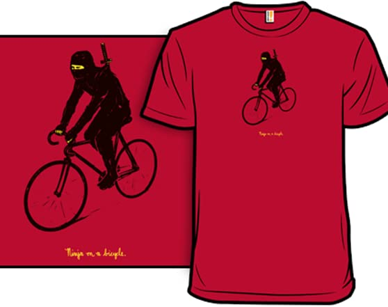 Ninja on a bicycle T Shirt 5b6acbb3-d8bd-404d-8b81-22ae75775412